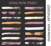 brush stroke stripes vector... | Shutterstock .eps vector #697423327