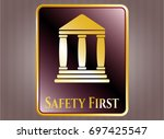gold badge with bank icon and...   Shutterstock .eps vector #697425547