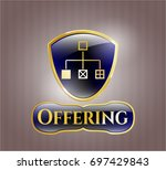 gold badge with flowchart icon ...   Shutterstock .eps vector #697429843