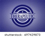 therapeutic badge with denim...   Shutterstock .eps vector #697429873