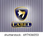 shiny badge with megaphone...   Shutterstock .eps vector #697436053
