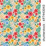 vintage floral background.... | Shutterstock .eps vector #697443043