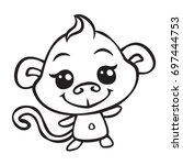 Vector Cute Monkey Coloring...