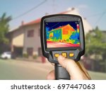 recording heat loss at the... | Shutterstock . vector #697447063