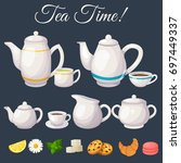 modern icons for tea shop and...   Shutterstock .eps vector #697449337