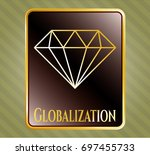 shiny badge with diamond icon...   Shutterstock .eps vector #697455733