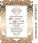 vintage baroque style wedding... | Shutterstock . vector #697458073