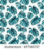 tropical leaves and coral... | Shutterstock .eps vector #697460737