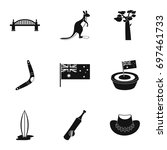 landmarks of australia icon set.... | Shutterstock .eps vector #697461733