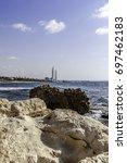 hadera power station chimneys... | Shutterstock . vector #697462183