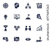 set of 16 strategy icons set... | Shutterstock .eps vector #697469263
