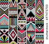 multicolor tribal vector... | Shutterstock .eps vector #697473703