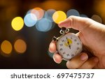 stopwatch pushed button hold man | Shutterstock . vector #697475737