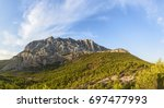 famous mount sainte victoire in ... | Shutterstock . vector #697477993