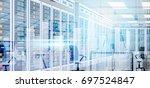 data center room hosting server ...   Shutterstock .eps vector #697524847