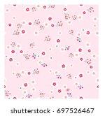 vintage pink spring summer wild ... | Shutterstock .eps vector #697526467