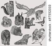 big set of hand drawn vector... | Shutterstock .eps vector #697552033