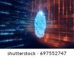 finger print scanning...   Shutterstock . vector #697552747