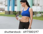 fitness beautiful woman... | Shutterstock . vector #697580197