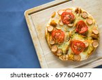 hot homemade sausages pizza | Shutterstock . vector #697604077
