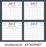 calendar planner 2017 on... | Shutterstock .eps vector #697609687