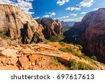 autumn scenery in zion national ... | Shutterstock . vector #697617613