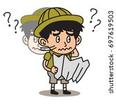 jungle explorer kid cartoon... | Shutterstock .eps vector #697619503