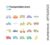 transportation flat vector icons | Shutterstock .eps vector #697626523