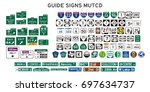 set of isolated guide signs of... | Shutterstock .eps vector #697634737