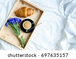 romantic summer breakfast in... | Shutterstock . vector #697635157