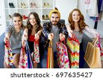 friends shopping together | Shutterstock . vector #697635427