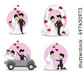 wedding doodle couple  bride... | Shutterstock .eps vector #697650973