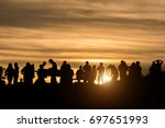 silhouette of tourists in... | Shutterstock . vector #697651993