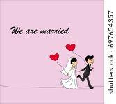 wedding doodle couple  bride... | Shutterstock .eps vector #697654357