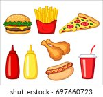 fast food clipart set  fast... | Shutterstock .eps vector #697660723