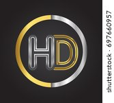 hd letter logo in a circle.... | Shutterstock .eps vector #697660957