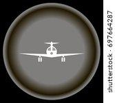 icon white plane on gray plate... | Shutterstock .eps vector #697664287