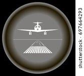 icon white landing plane on... | Shutterstock .eps vector #697664293