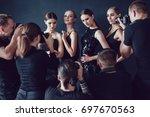 photographers paparazzi take... | Shutterstock . vector #697670563