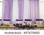 wedding banquet table in white... | Shutterstock . vector #697670683