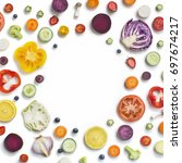 assorted vegetables and fruits... | Shutterstock . vector #697674217
