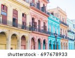 authentic view of a street of... | Shutterstock . vector #697678933