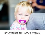 little girl toddler with... | Shutterstock . vector #697679533