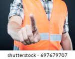 close up of constructor wearing ...   Shutterstock . vector #697679707