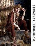 sexy girl  cowboy girl ... | Shutterstock . vector #697698853