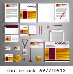 striped corporate identity... | Shutterstock .eps vector #697710913
