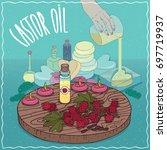 glass vial of castor oil and... | Shutterstock .eps vector #697719937