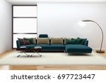 modern bright interiors. 3d... | Shutterstock . vector #697723447