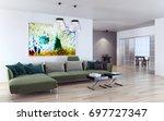 modern bright interiors. 3d... | Shutterstock . vector #697727347