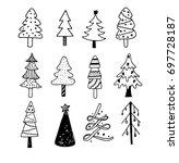 set of vector doodle hand drawn ... | Shutterstock .eps vector #697728187